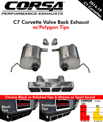 2014-19 Corvette Corsa Exhaust Systems w/Polygon Tips