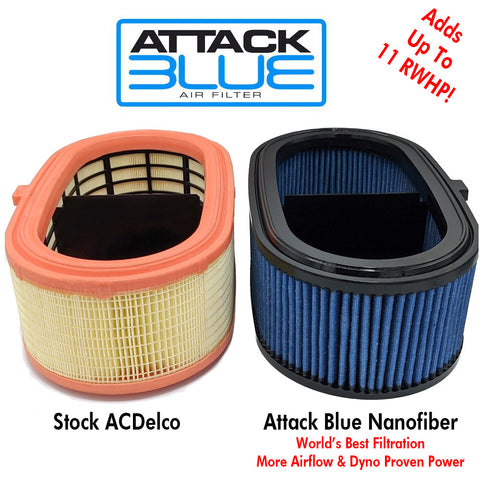 2020-21 C8 Corvette Attack Blue Dry Nanofiber Performance Air Filter