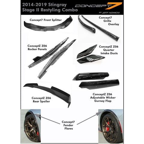 2014-19 Corvette Stingray Concept7 Stage II Carbon Fiber Restyling Combo (2 Variations)