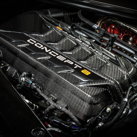 2020-Current Corvette C8 Concept8 Bespoke Carbon Fiber Engine Cover (2 Versions)