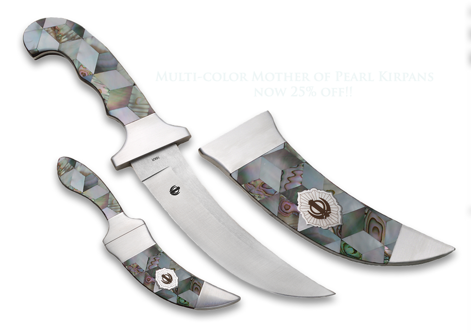 Large and compact diamond mosaic mother of pearl kirpans 4 colors