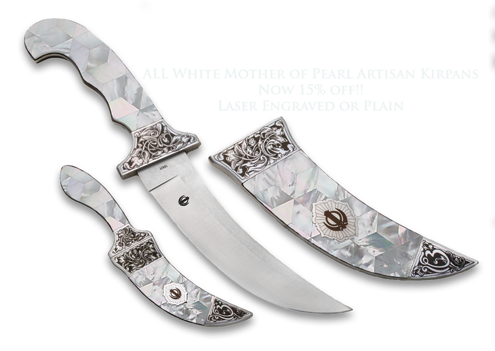 Large and Compact Diamond-mosaic-mother of Pearl Kirpans 4 Colors