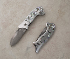 Mosaic natural abalone liner lock folding knife