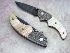 Engraved gold mother of pearl folding knife