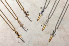Two-tone steel Flower dagger pendants on chains