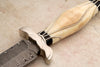 Carved fossil ivory Damascus and silver dagger