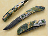 Engraved Jasper folding knife