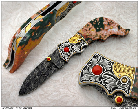 Engraved Jasper folding knife2