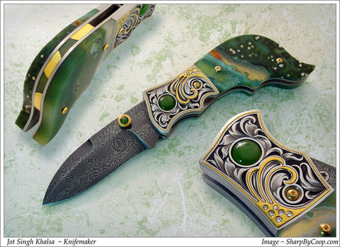 Engraved Jasper folding knife5