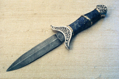 Engraved small lapis handled dagger