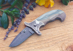 Engraved jasper folding knife8