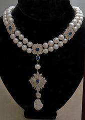 Natural double-strand freshwater pearl and sapphire and white cubic zirconia inset silver necklace