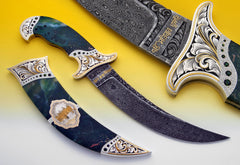 Tribute to Darbar Sahib - Engraved/encrusted jasper Kirpan