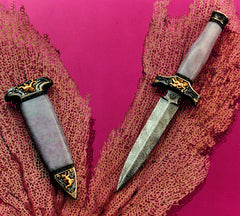 Engraved lavender jade handled boot knife and matching scabbard