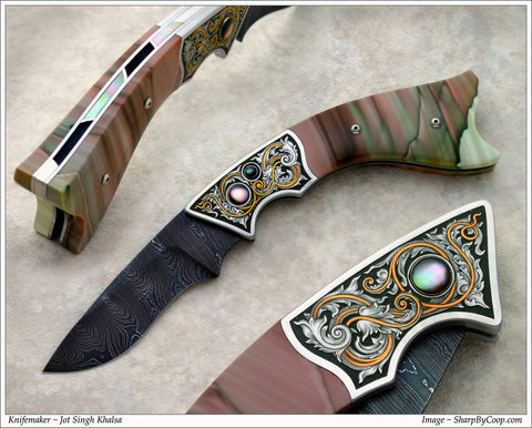 Engraved Jasper folding knife4