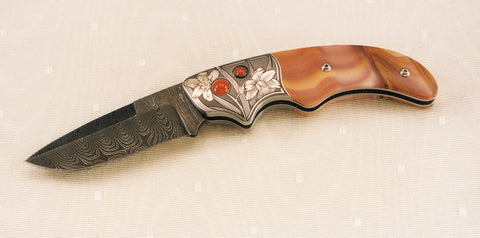 Engraved jasper folding knife10