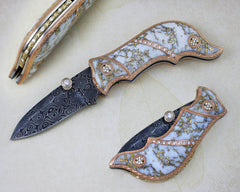 Gold quartz folding knife