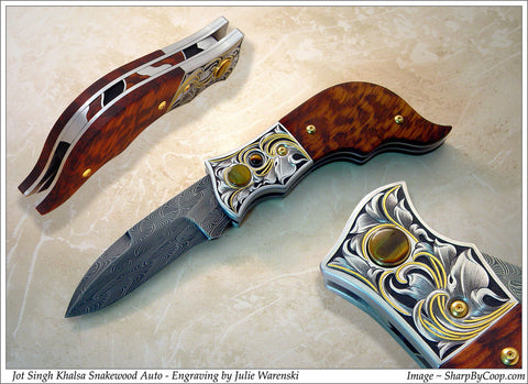 Snakewood handled button lock folding knife