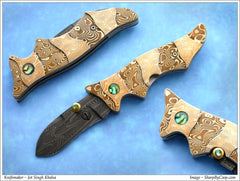 Carved mokume folding knife