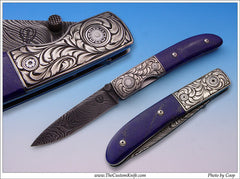 lapis handled folding knife
