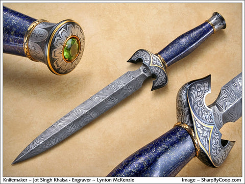 Engraved lapis handled dagger