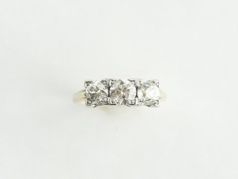 Old European Cut Diamond Three-Stone Ring
