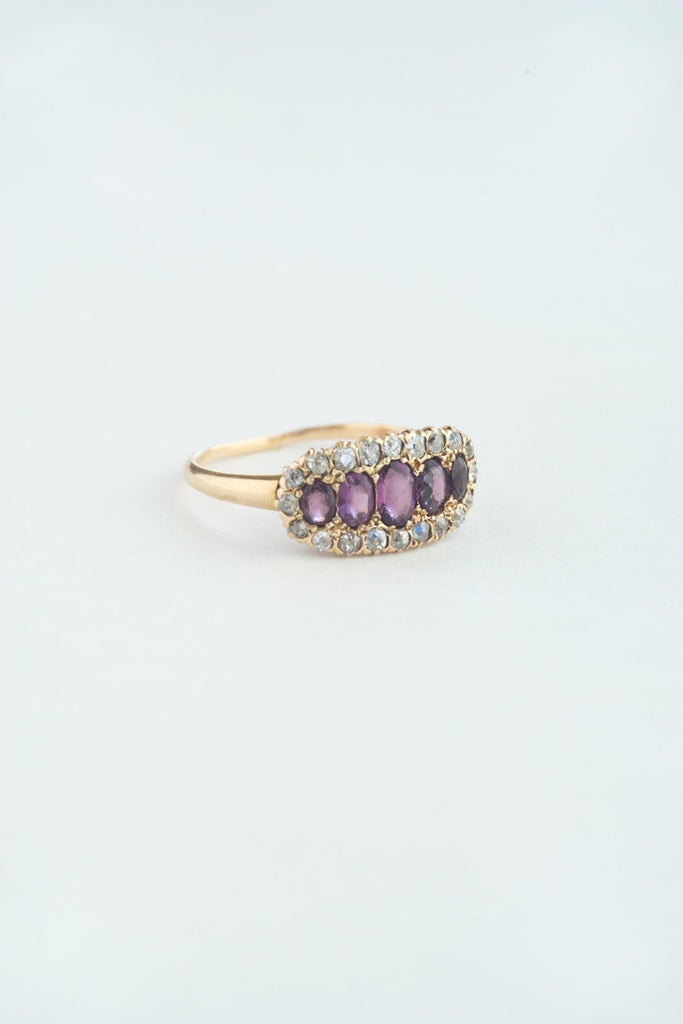 Victorian Amethyst and Diamond Cluster Ring