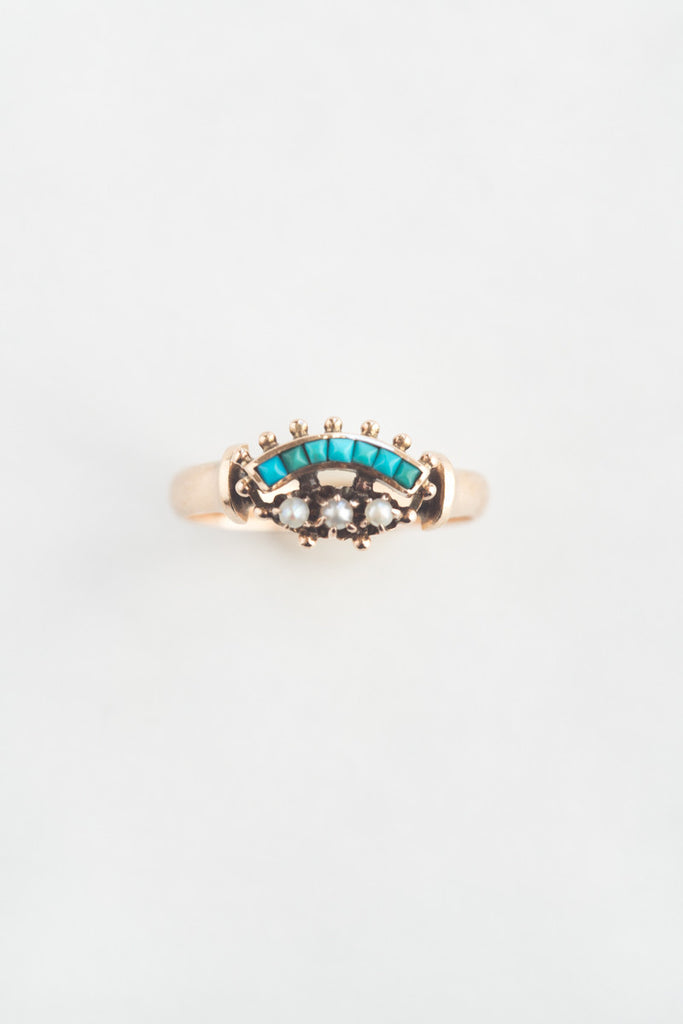 Victorian Etruscan Revival Seed Pearl and Turquoise Ring