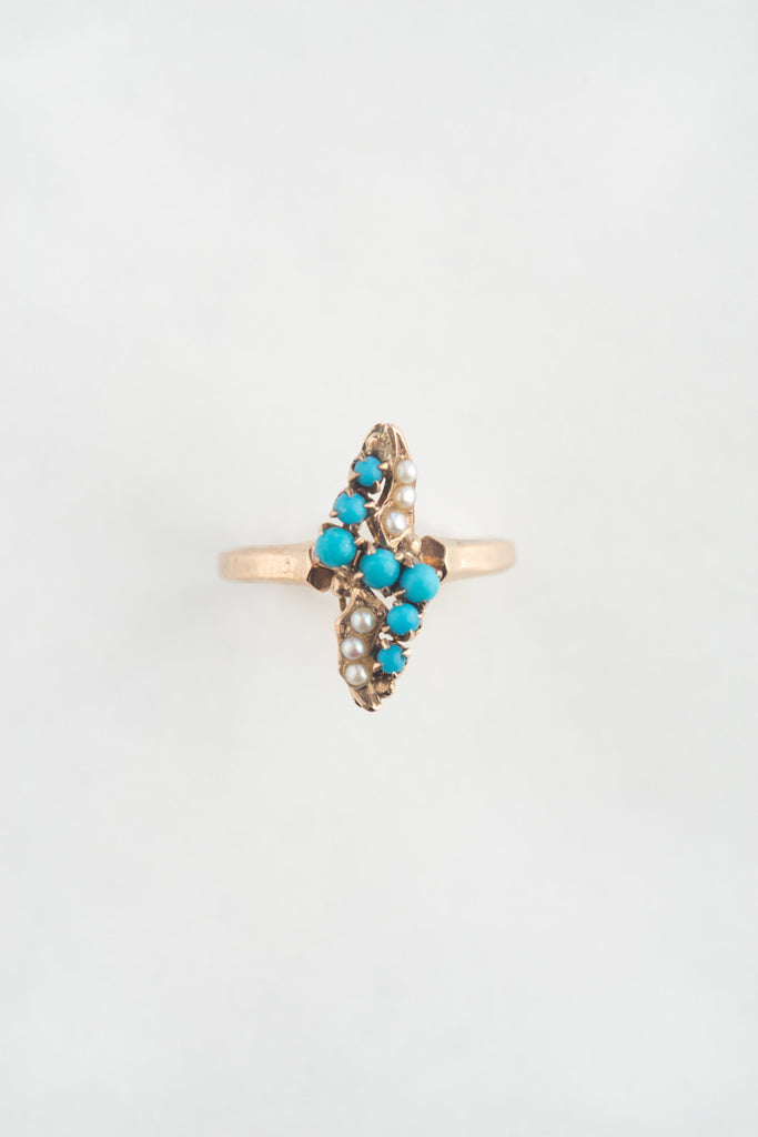 Victorian Seed Pearl and Turquoise Ring