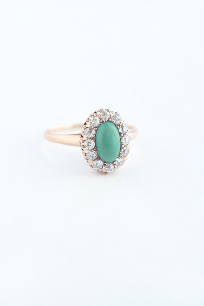 Super Antique 14k Turquoise and Diamond Ring – QUITOKEETO VV65