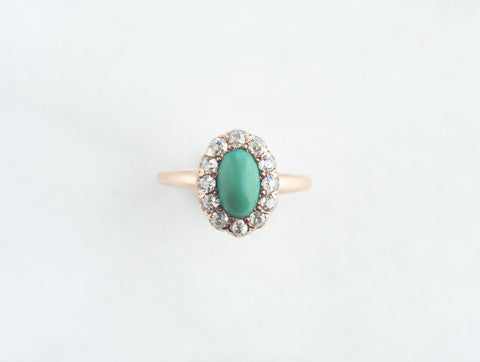 Antique 14k Turquoise and Diamond Ring