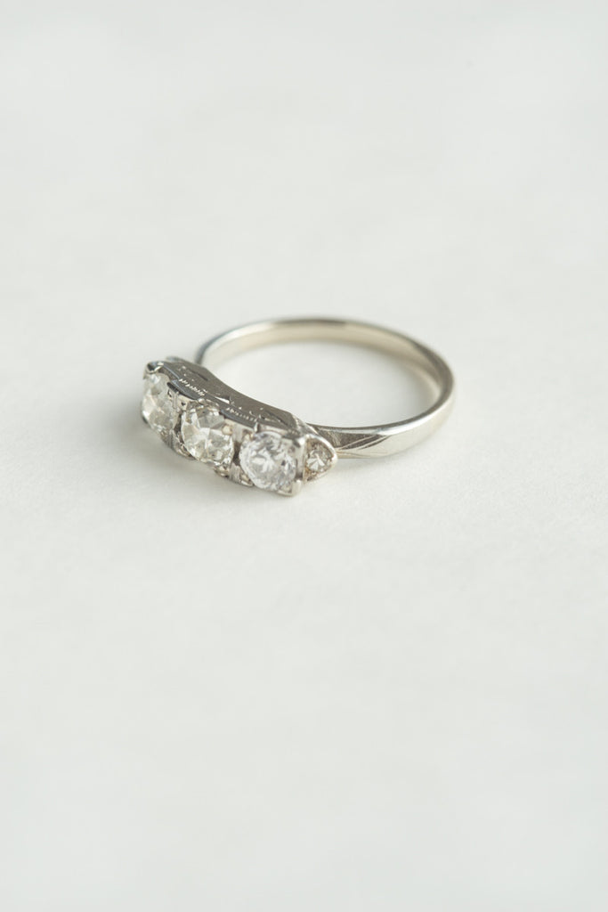 Platinum Art Deco Diamond Three-Stone Ring