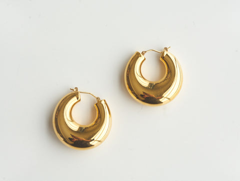 Estate 14K Gold Puffy Hoops