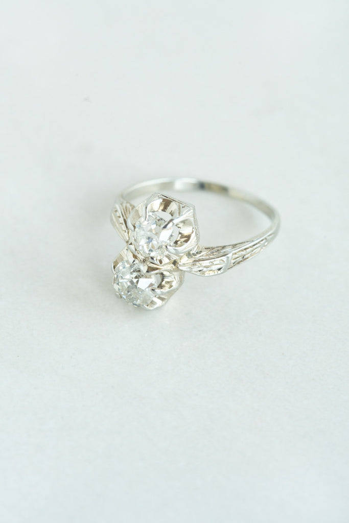 Old Mine Cut Double Diamond Ring