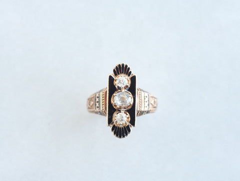 Victorian Diamond & Enamel Ring