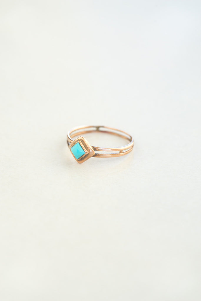 Antique Rose Gold Turquoise Ring