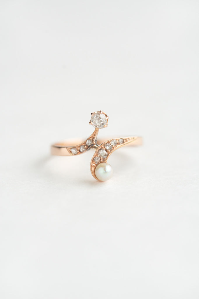 Art Nouveau Diamond and Pearl Ring