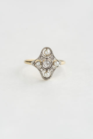 Antique Mine Cut Diamond and Pearl Ring