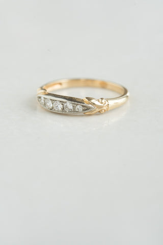 1940s Mid-century Five Stone Diamond Ring