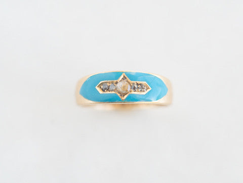 Victorian Rose-cut Diamond & Enamel Band