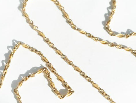 52 Inch Long Antique 15k Gold Chain