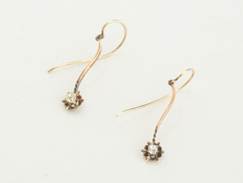 Antique Diamond Flower Drop Earrings