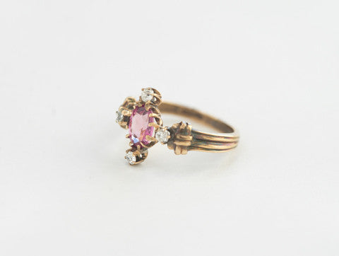 Antique Diamond and Pink Sapphire Ring