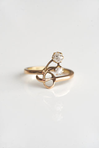 Antique Art Nouveau Floral Diamond Ring