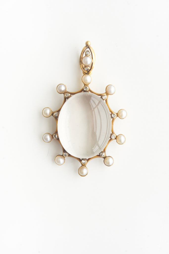 Antique Diamond & Pearl Rock Crystal Pendant
