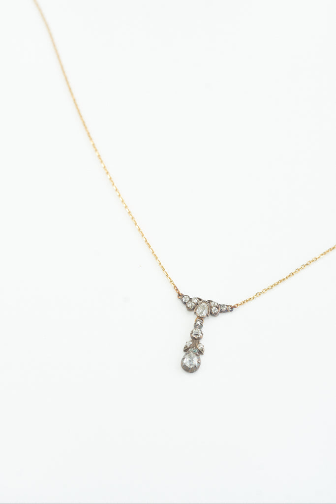 Antique Diamond Pendant & Necklace