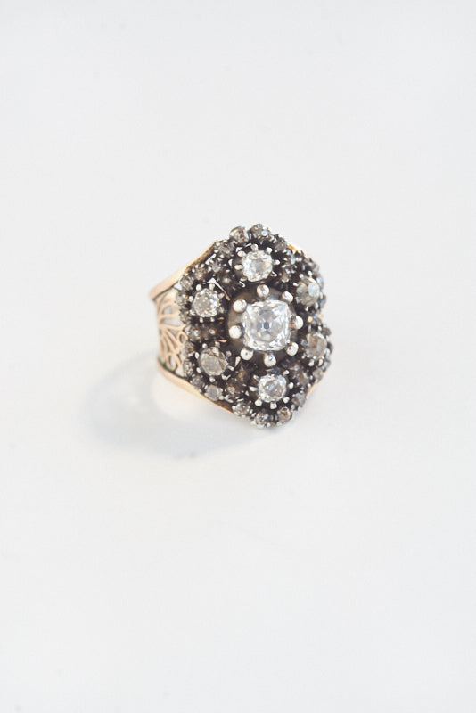 Antique Seven Diamond Shield Ring