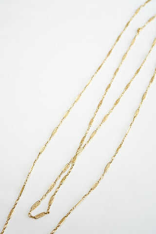 French 62 Inch Long Antique Gold Chain