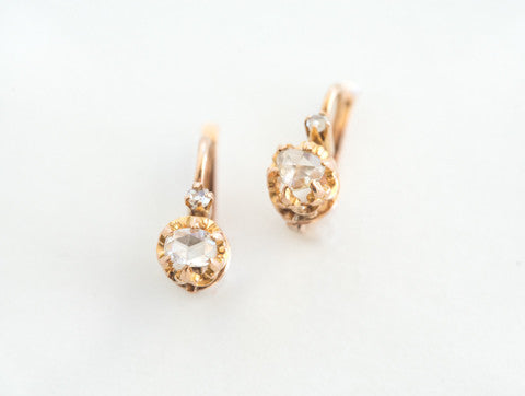 Antique French Rosecut Diamond Earrings