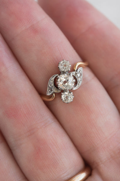 Antique French Old Mine Cut Diamond Ring Quitokeeto